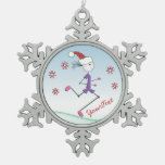 PERSONALIZED Christmas Holiday Lady Runner Snowflake Pewter Christmas Ornament