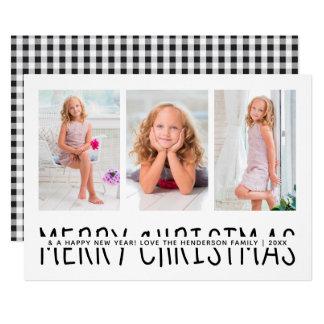 Personalized Christmas Holiday Plaid   Black White Card