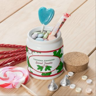 Personalized: Christmas Holly: Candy Jar