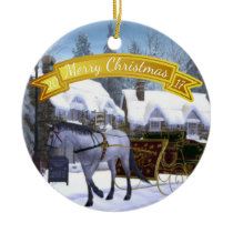 Personalized  Christmas Horse and Sleigh Ceramic Ornament