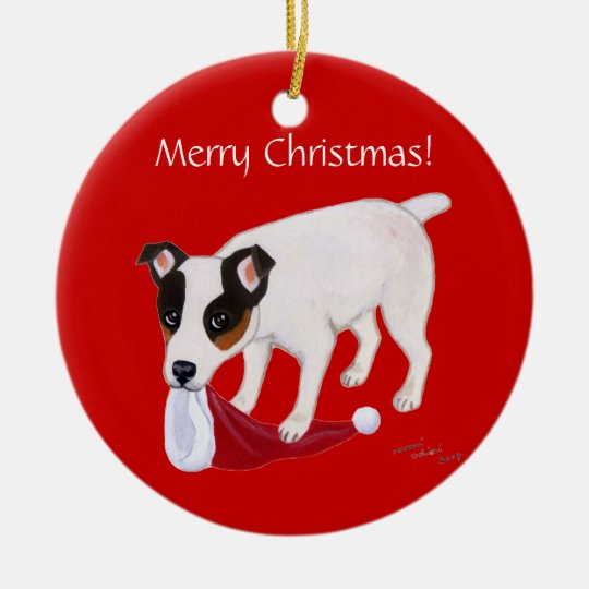 Personalized Christmas Jack Russell Terrier Ceramic Ornament