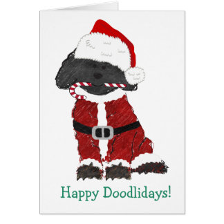 Personalized Christmas Labradoodle Santa Claus Card