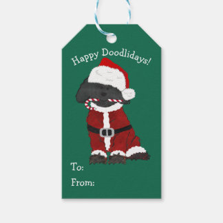 Personalized Christmas Labradoodle Santa Claus Gift Tags