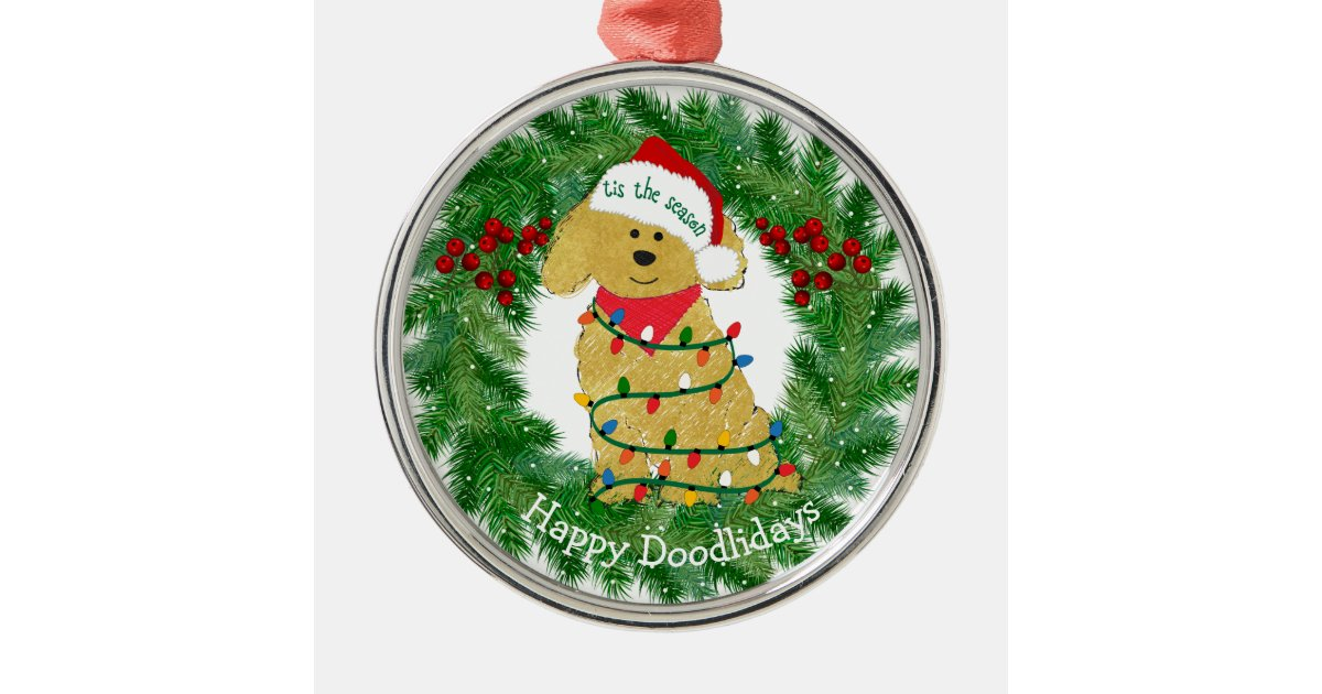 personalized christmas lights goldendoodle metal ornament zazzlecom - Goldendoodle Christmas Ornament