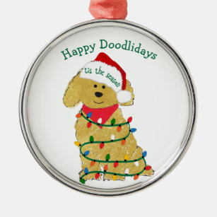 personalized christmas lights goldendoodle metal ornament - Goldendoodle Christmas Decorations