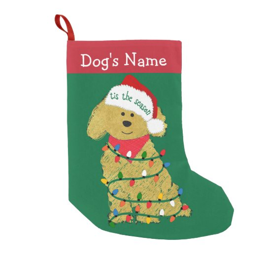 Personalized Christmas Lights Goldendoodle Small Christmas Stocking ...