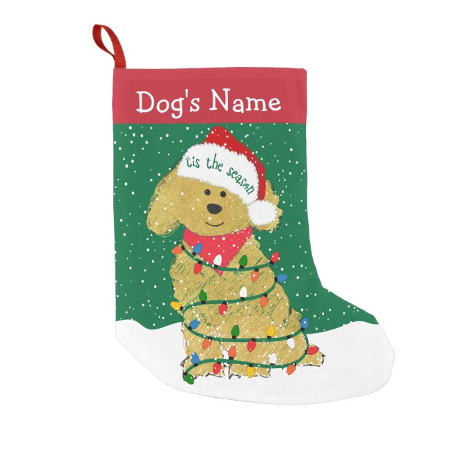 Personalized Christmas Lights Goldendoodle Small Christmas Stocking