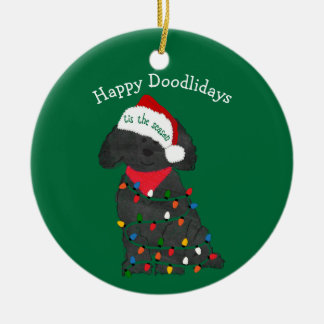 Personalized Christmas Lights Labradoodle Green Ceramic Ornament