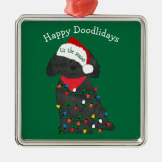 Personalized Christmas Lights Labradoodle Green Metal Ornament