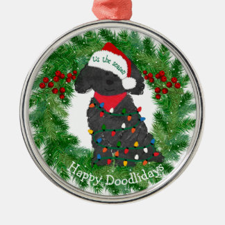 Personalized Christmas Lights Labradoodle Metal Ornament