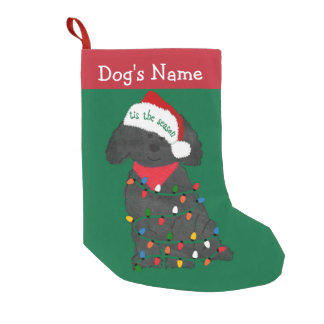 Personalized Christmas Lights Labradoodle Small Christmas Stocking