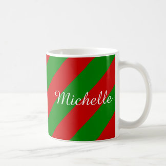 Personalized Christmas mug | green and red stripes