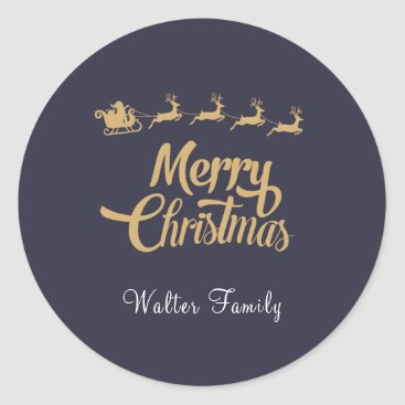 Christmas Themed Personalized Christmas Navy Sticker