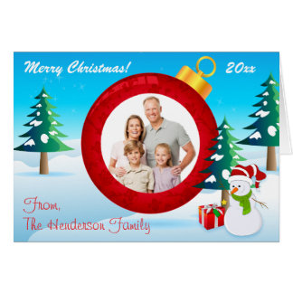 Personalized Christmas Ornament Photo Card 5 Cards