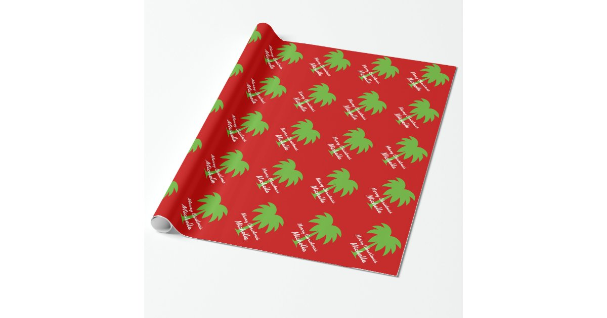 Personalized Christmas Palm Tree Wrapping Paper Zazzle