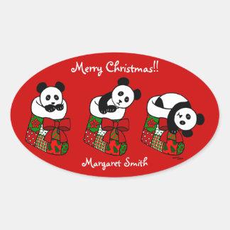 Personalized Christmas Panda Stocking Oval Sticker