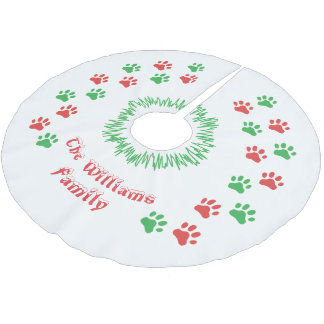 Personalized Christmas Paw Prints Tree Skirt