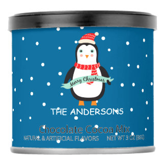 """Personalized  Christmas Penguin """"Merry Christmas"""" Hot Chocolate Drink Mix"""