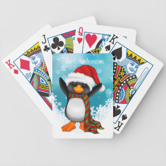 Personalized Christmas Penguin Playing Cards