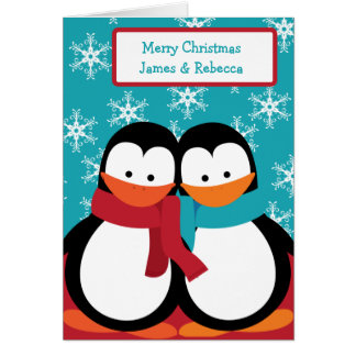 Personalized Christmas Penguins Card