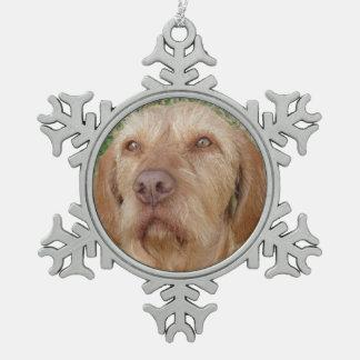 Personalized Christmas Pet Photo Snowflake Pewter Christmas Ornament