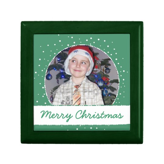 Personalized Christmas Photo Frame Green Gift Box