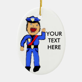 Personalized Christmas Policemen Double-Sided Oval Ceramic Christmas Ornament