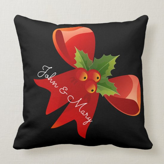Personalized Christmas Ribbon Throw Pillow