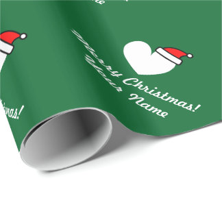 Personalized Christmas Santa heart wrapping paper