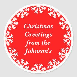 Personalized Christmas Snowflakes Envelope Seals Classic Round Sticker