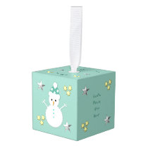 Personalized Christmas Snowman green Cube Ornament