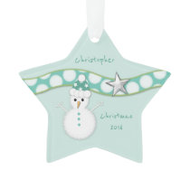 Personalized Christmas snowman green star Grandson Ornament