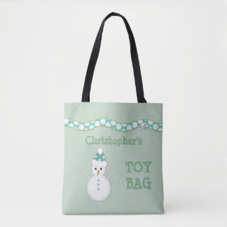 Personalized Christmas Snowman shopping Tote Bag