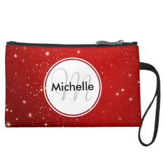 Personalized Christmas Starry Red Night Sky Suede Wristlet Wallet