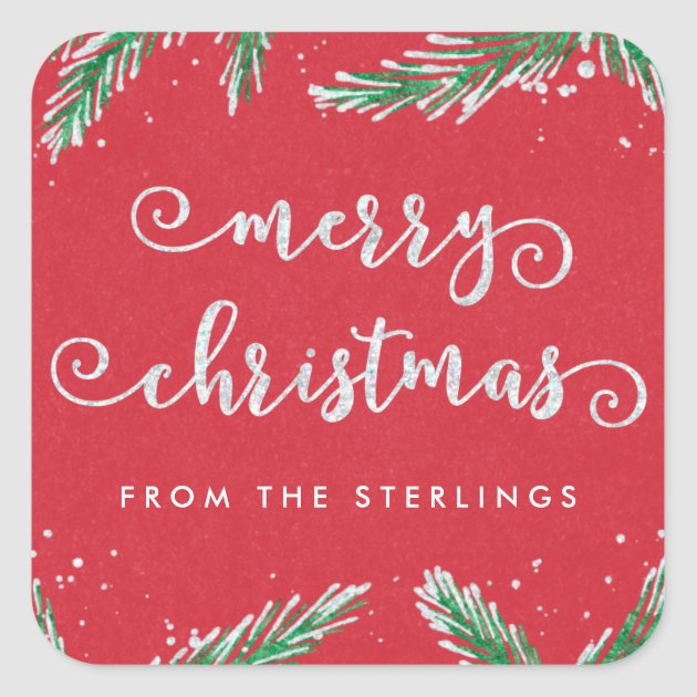 2 Sheets Glitter Holly//merry Christmas Stickers
