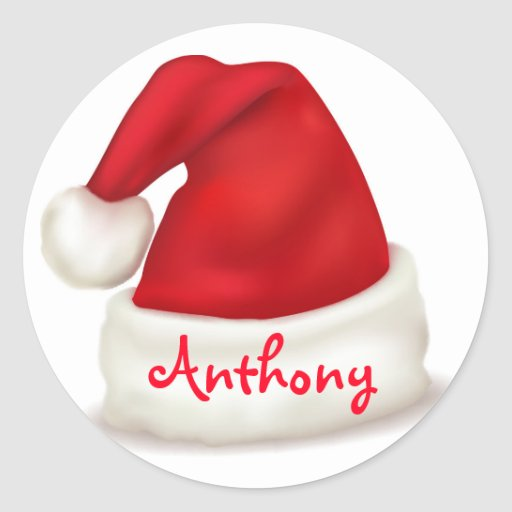 Personalized christmas stickers santa hat classic round