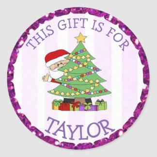 Personalized Christmas Tags Cute Santa and Tree