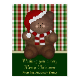 Personalized: Christmas Teddy Bear Postcard