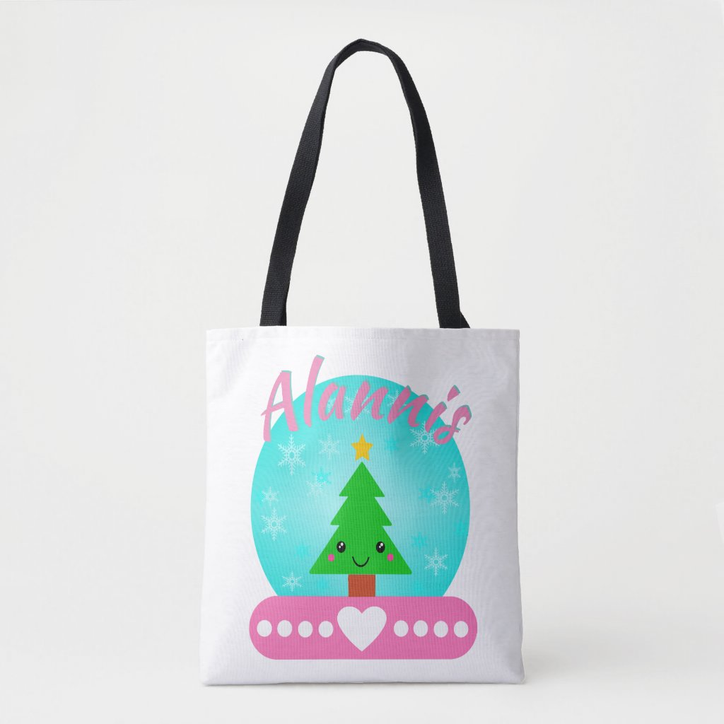 Personalized Christmas Tree And Hearts Tote Bag