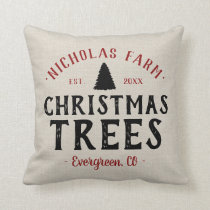 Personalized Christmas Tree Farm Grain Sack Throw Pillow