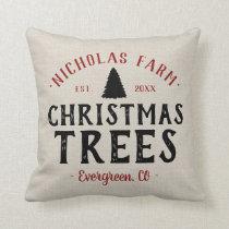 Personalized Christmas Tree Farm Grain Sack Throw Pillow