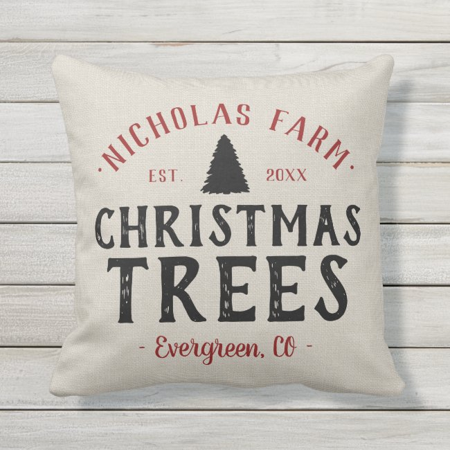 Personalized Christmas Tree Farm | Outdoor Pillow