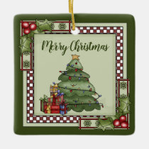 Personalized Christmas Tree, Gifts Merry Christmas Ceramic Ornament