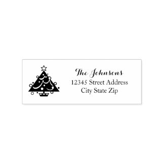 Personalized Christmas tree Holiday wood art stamp
