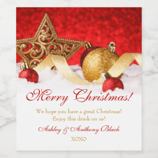 Personalized Christmas Wine Labels | Gold Red