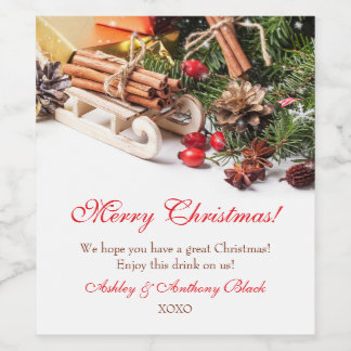 Personalized Christmas Wine Labels | Holiday Decor