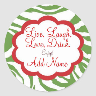 Personalized Christmas Wine Lable Round Stickers