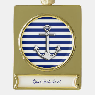 Personalized Chrome Anchor on Navy Stripes Gold Plated Banner Ornament