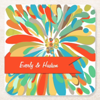 Personalized Chrysanthemum Bold Colorful Floral Square Paper Coaster