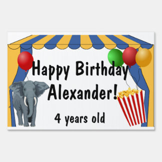 Personalized Circus Birthday Party Yard Sign